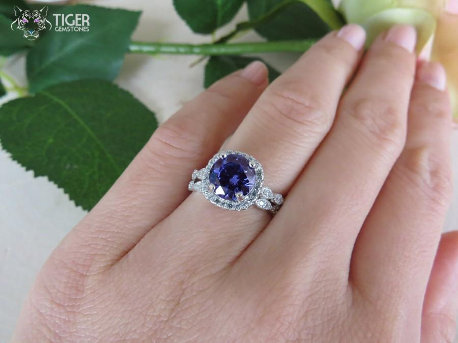 Hochzeit - 2.25 CT Halo Wedding Set Vintage Inspired Bridal Rings, Man Made Tanzanite & Diamond Simulants,  Art Deco, Engagement Rings, Sterling Silver
