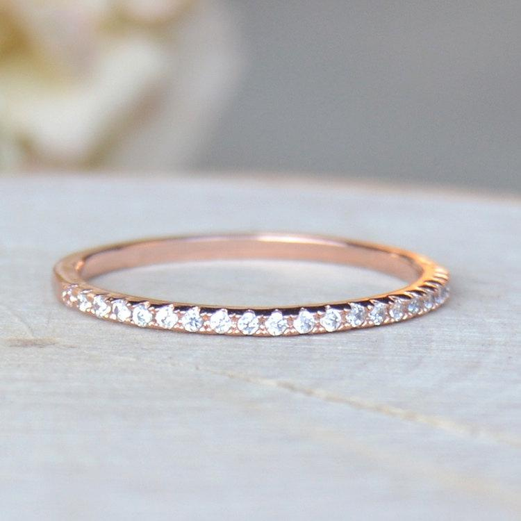 Hochzeit - Thin 1.4mm Eternity Band Ring - Rose Gold