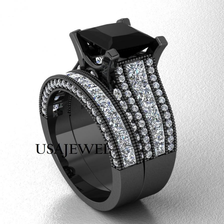 355ct Black Princess Cut Engagement Wedding Ring With Solid 925 Sterling Silver Free Shipping And Sizing: Black Wedding Bands Sterling Silver At Reisefeber.org