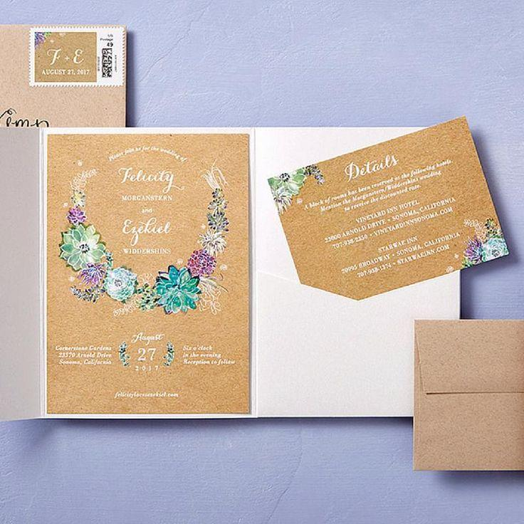 Mariage - Splendid Succulent - Signature White Wedding Invitations In Walnut Or Eggshell