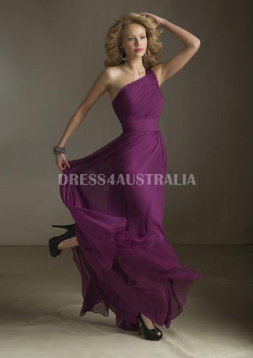 1a3e0c4a12240 Buy Australia Flowing One Shoulder Ruched Bodice Floor Length Chiffon  Bridesmaid Dresses by Angelina Faccenda 20415 at AU$133.52 -  Dress4Australia.com.au