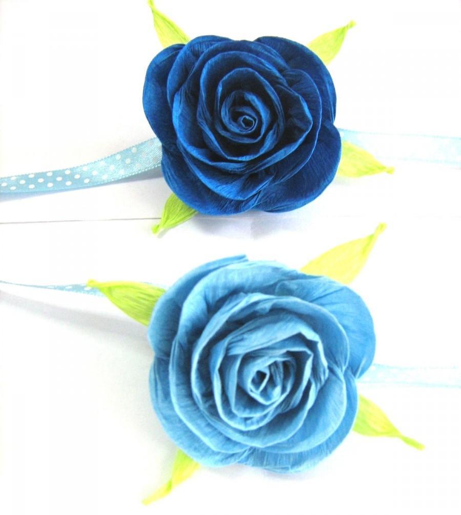 Blue Rose Crepe Paper Corsage Mothers Corsage Bridal Corsage