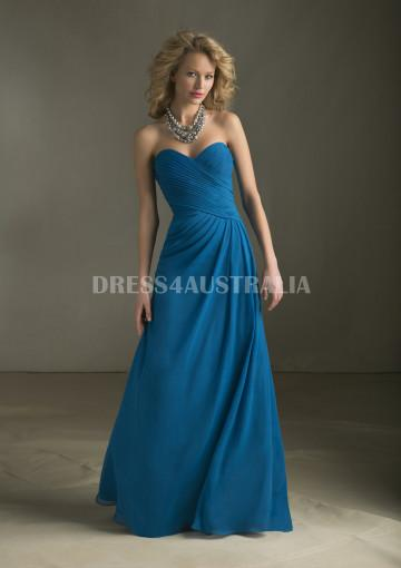 Australia A Line Ocean Blue Strapless Ruched Bodice Floor Length Chiffon Bridesmaid Dresses By Angelina Faccenda 20416 At Au 130 15