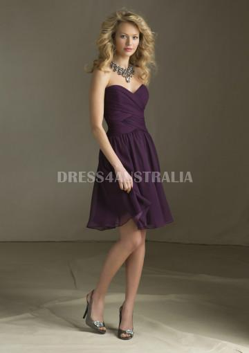 Свадьба - Buy Australia Cheap Grape Sweetheart Neckline Criss Cross Ruched Bodice Short Chiffon Bridesmaid Dresses by Angelina Faccenda 204110 at AU$118.93 - Dress4Australia.com.au