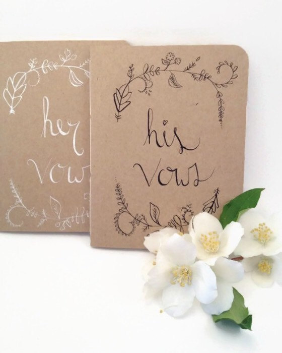 Mariage - Wedding Vow Book - His and Hers - Woodland Wedding Decor - Vow books - Wedding vows - Gift for Engagement Party - Bride to be Gift