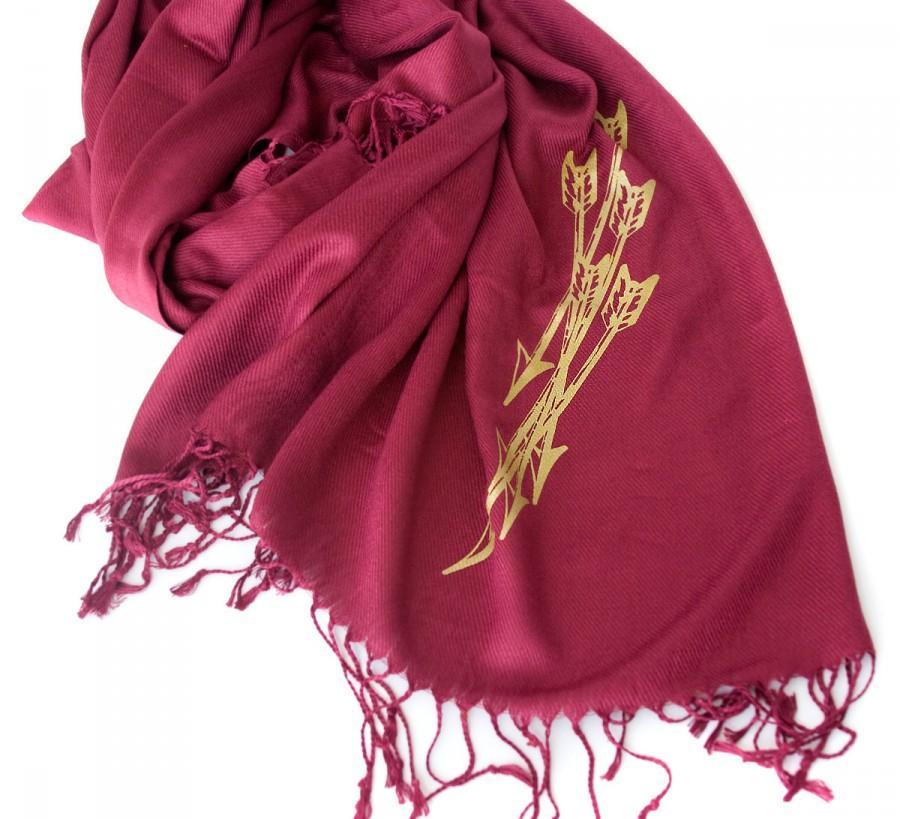Mariage - Arrows pashmina scarf. Large burgundy scarf. Silkscreened metallic gold print. Unisex.