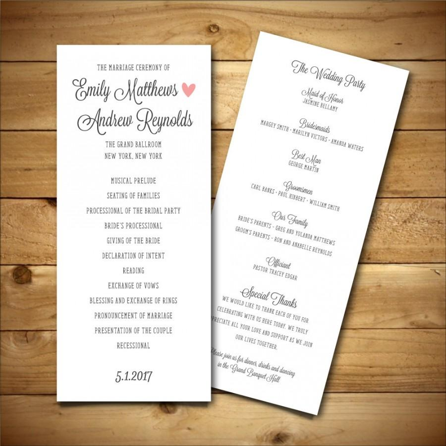 printable wedding program template dark grey pink. Black Bedroom Furniture Sets. Home Design Ideas