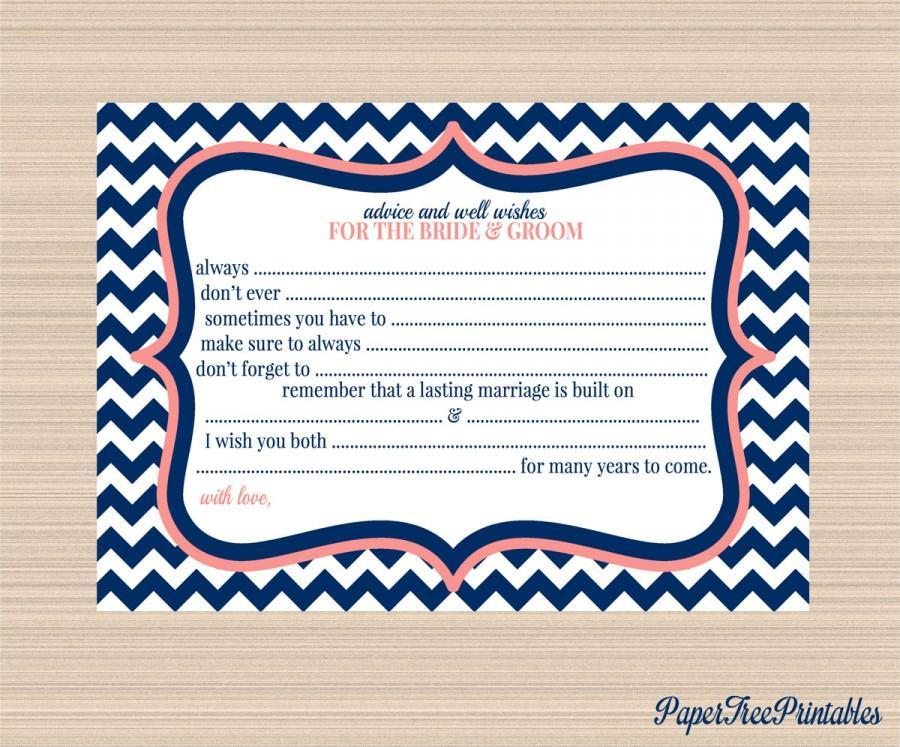 Wedding - Bride and Groom Digital Advice Card, Navy and Coral Chevron