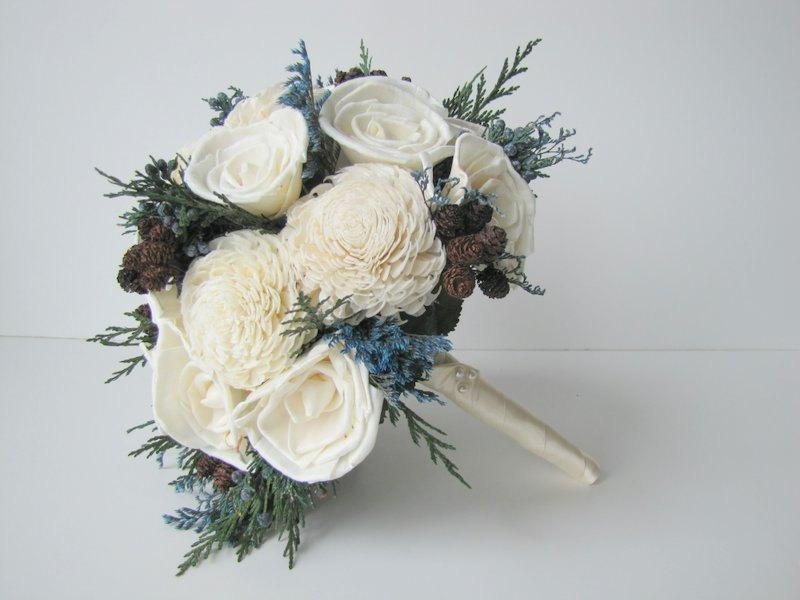 Blue And White Winter Bridal Bouquet