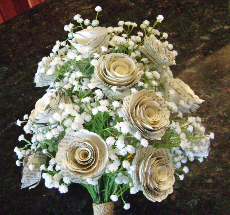 Boda - The Klacie spiral rose book page bridal bouquet with silk baby's breath and burlap wrap recycled toss bridesmaid flowers