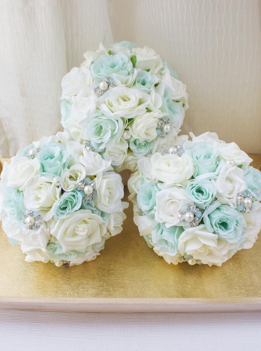 Mint Brooch Bouquet, Bridesmaid Bouquet, Silk Flower Bridal Bouquet ...
