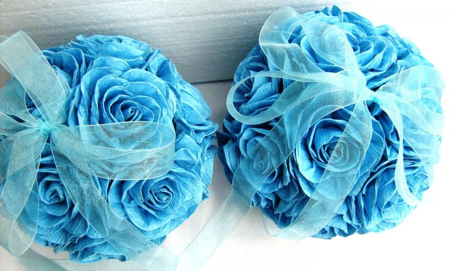 Crepe paper flower wedding kissing balls royal navy aqua turquoise crepe paper flower wedding kissing balls royal navy aqua turquoise blue hanging frozen wedding pomander wedding dekor flower girl mightylinksfo