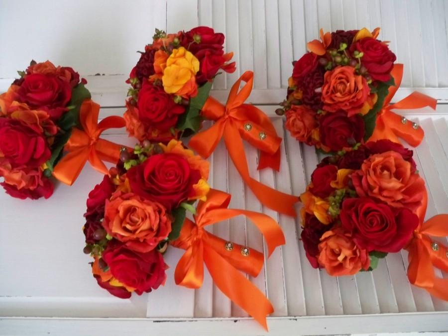 Свадьба - Orange and Red Autumn and Fall Rich and Romantic Bridal Bridesmaids Boutonniere Destination Wedding Bouquet Set