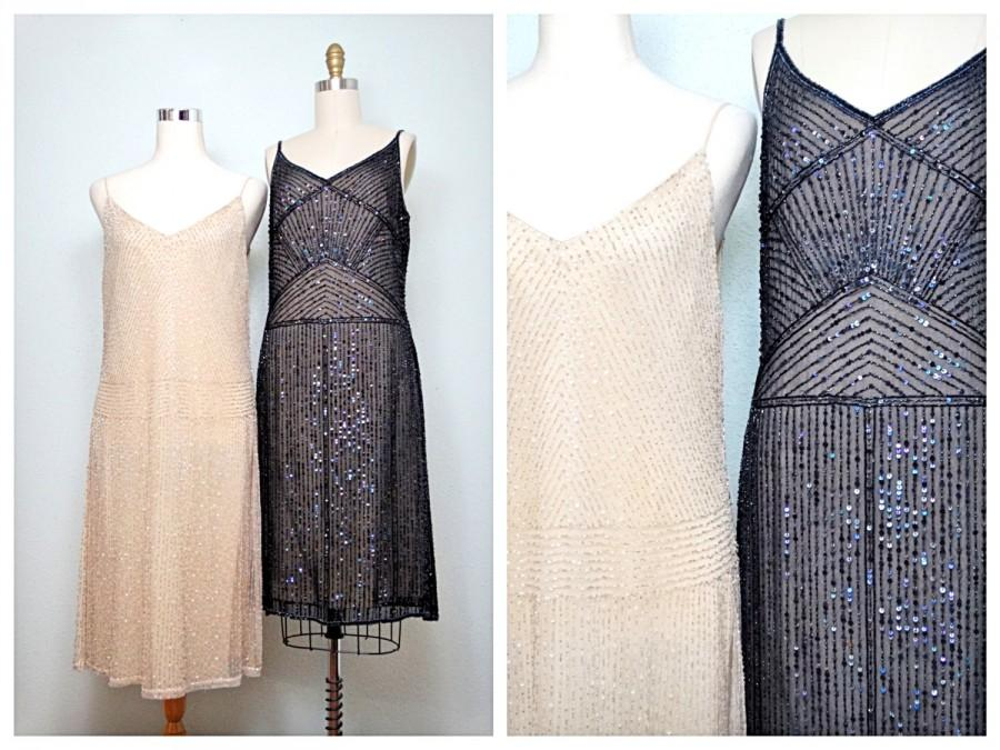 Nude Black Beaded Sequin Vintage Inspired Dresses Black And