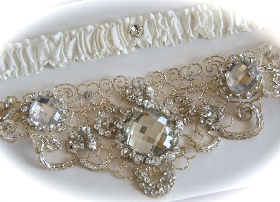 GartersGarterWedding Garter Set In Champagne With Jeweled Centering