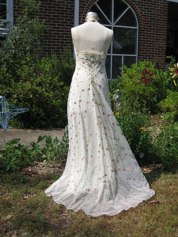 Wedding - Rose Embroidered Net Halter Gown
