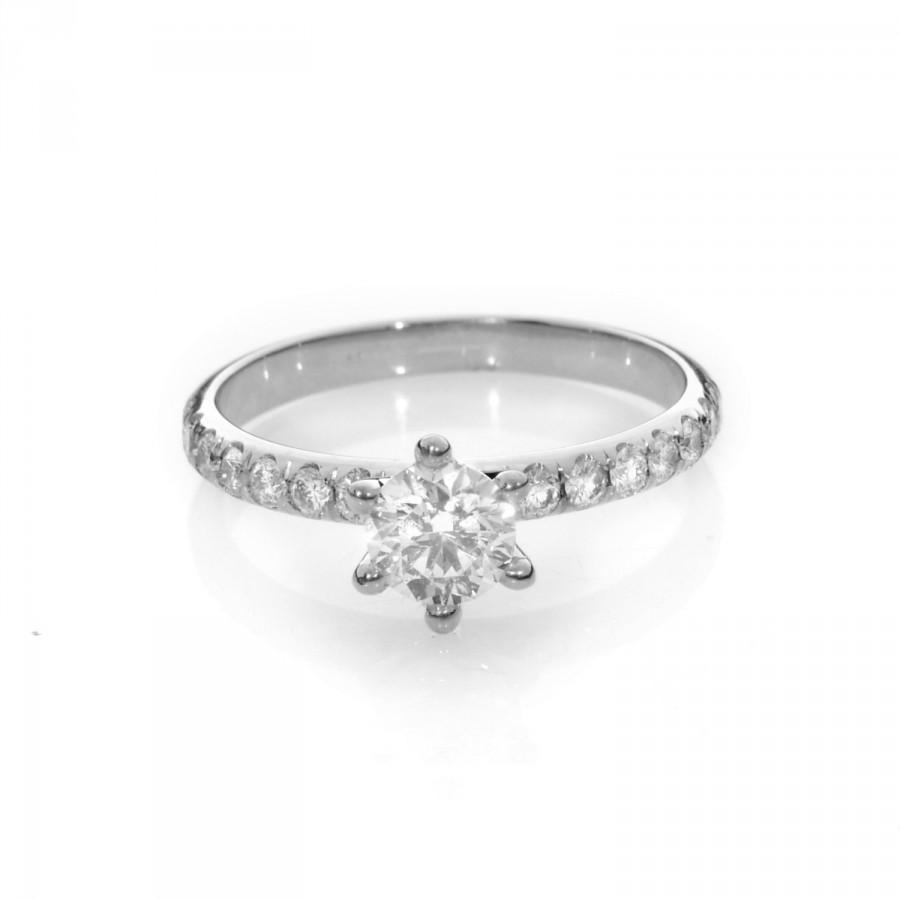 white gold engagement ring , white gold diamond engagement ring - diamond  band engagement ring - vintage diamond engagement ring - diamond