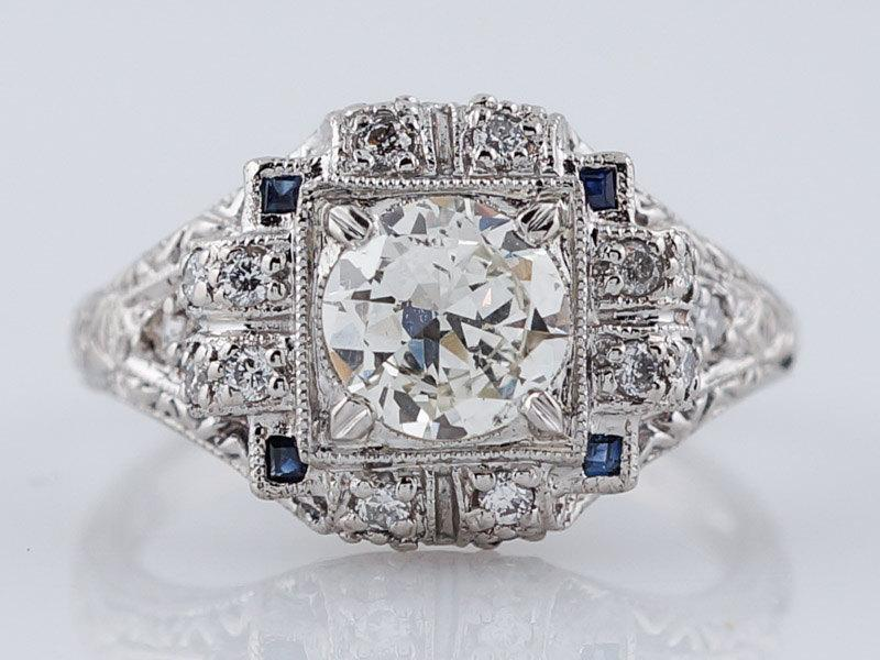 Mariage - Antique Art Deco .80ct Old European Cut Diamond Engagement Ring in Platinum