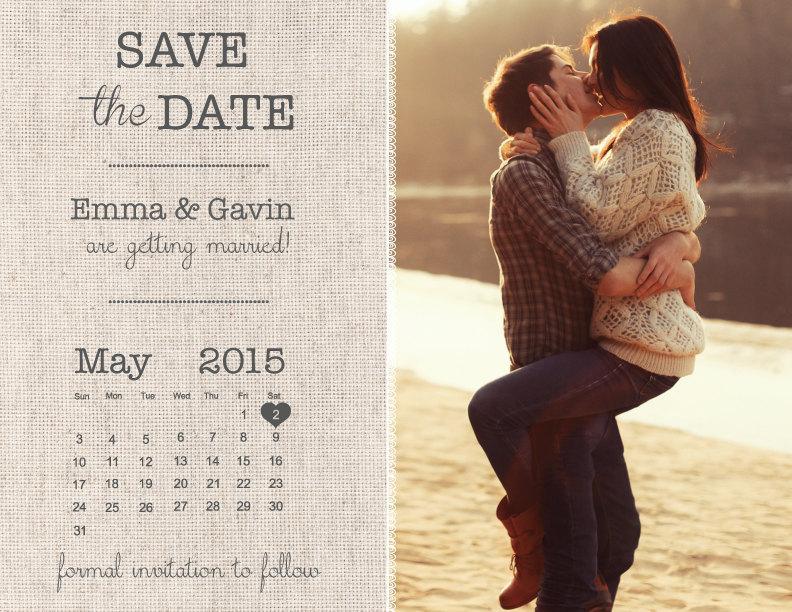 Mariage - Save The Date Magnet, Card or Postcard - Burlap Calendar