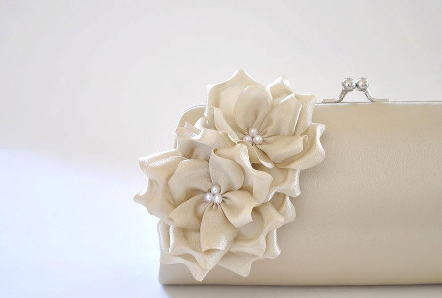 Mariage - Champagne Clutch / Bridal clutch / Bridesmaid clutch