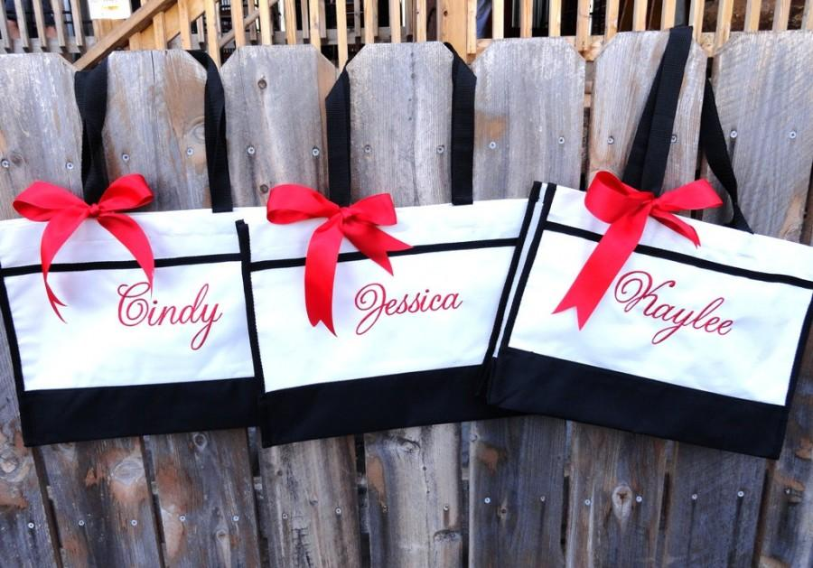 Mariage - 7 Personalized Bridesmaid Gift Tote Bag Personalized Tote, Bridesmaids Gift, Monogrammed Tote