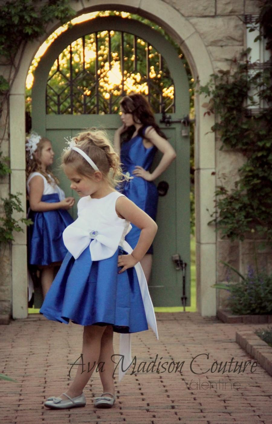Blue flower girl dress with big white bow for wedding or for Wedding girl dress up