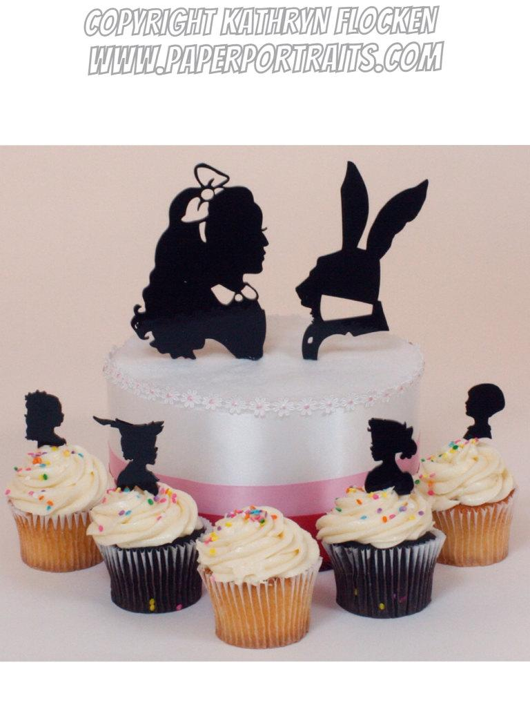 Mariage - Wedding Cake Topper Alice in Wonderland Silhouettes, Lasered ACRYLIC