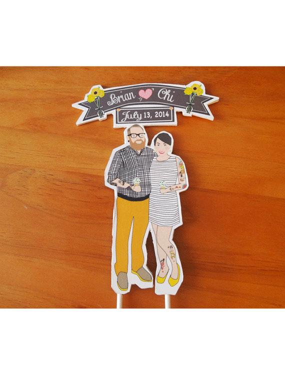 Свадьба - Custom Wedding Cake Topper Weddings Custom Couple Wedding Cake Topper Tattoos Mint Chocolate Chip ice cream cones