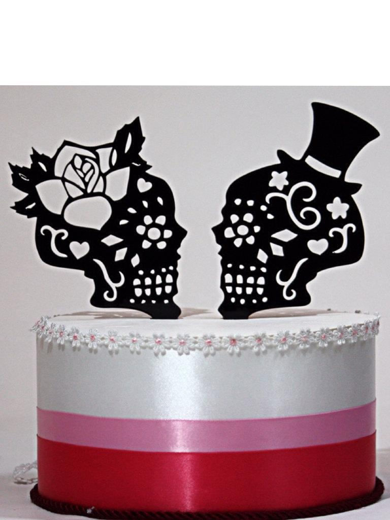 Day Of The Dead Skulls, Wedding Cake Topper Silhouette, Lasered ...
