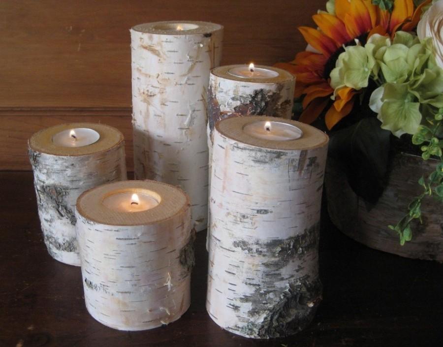 5 Birch Bark Candle Holders Wedding Decor Rustic Woodland Christmas Holiday Wood Log 2419120
