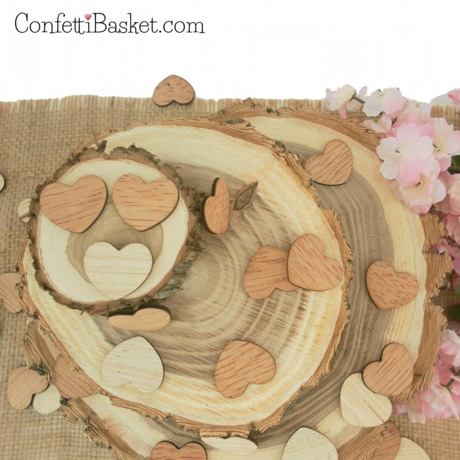 "Свадьба - Wooden Hearts 1"" - Rustic Wedding Table Confetti - Wooden Hearts - Wedding Invitations"