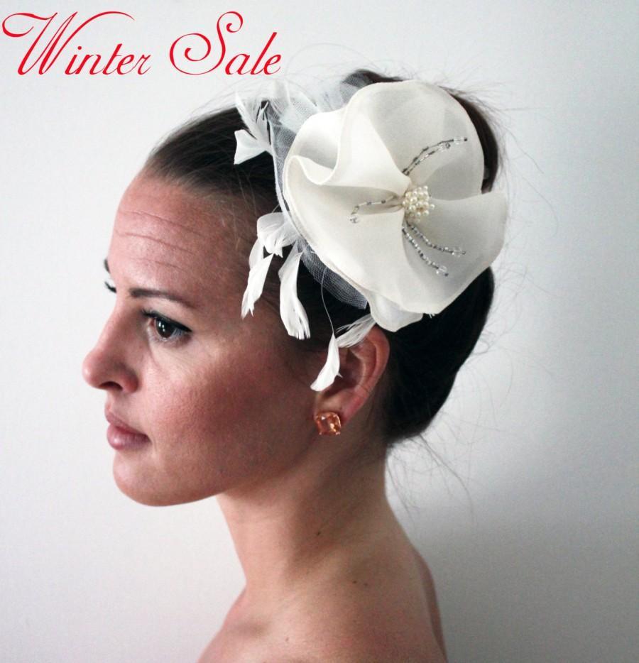 Wedding - Winter Sale - 25% off! Decorative Bridal Flower With Hair Stick, Bridal Accessory, Wedding Flower, Swarovski Flower - Mia
