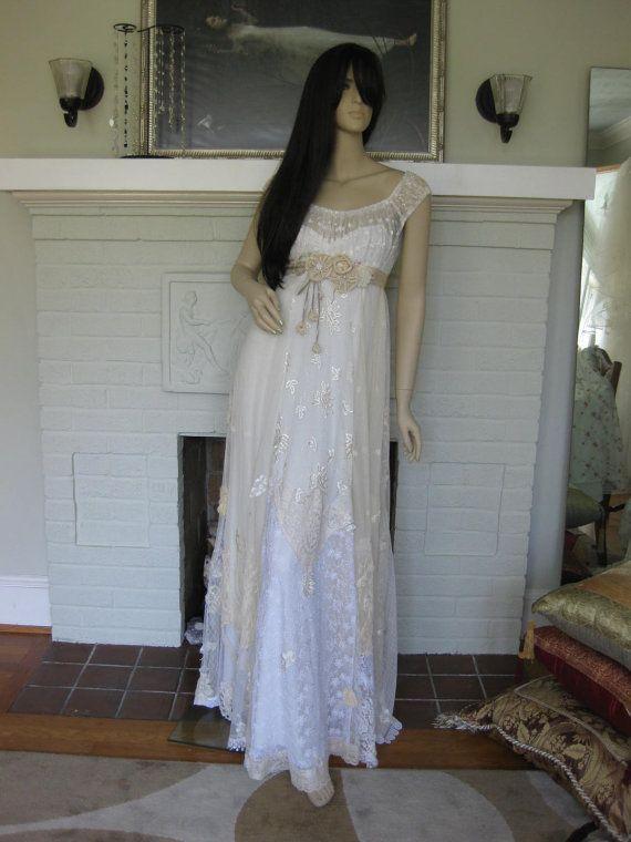 Hochzeit - Hippie Wedding Dress Reserved For Mariya1205