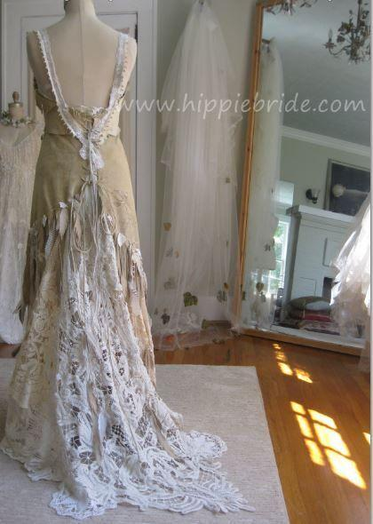 Hochzeit - Leather And Antique Lace Wedding Dress
