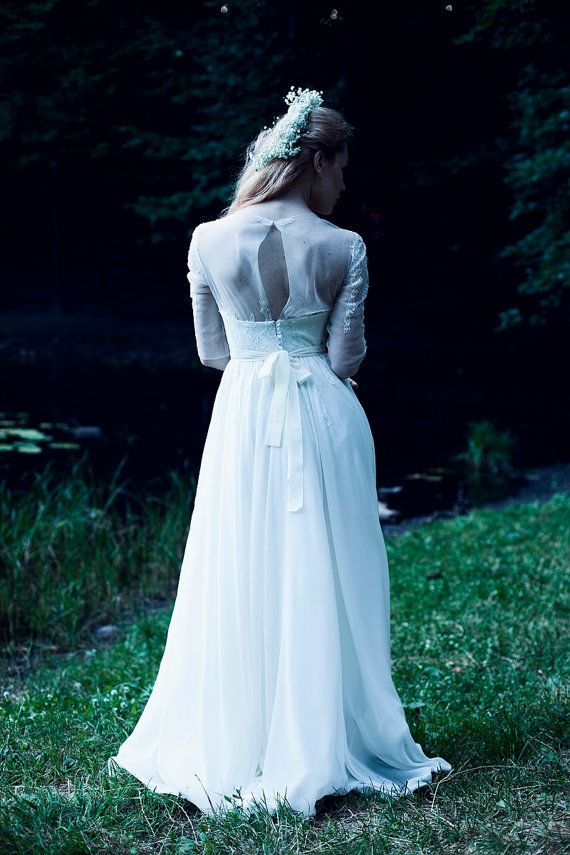 Hochzeit - Pure White Open Back Lace Corset Wedding Dress//Boho Wedding Dress
