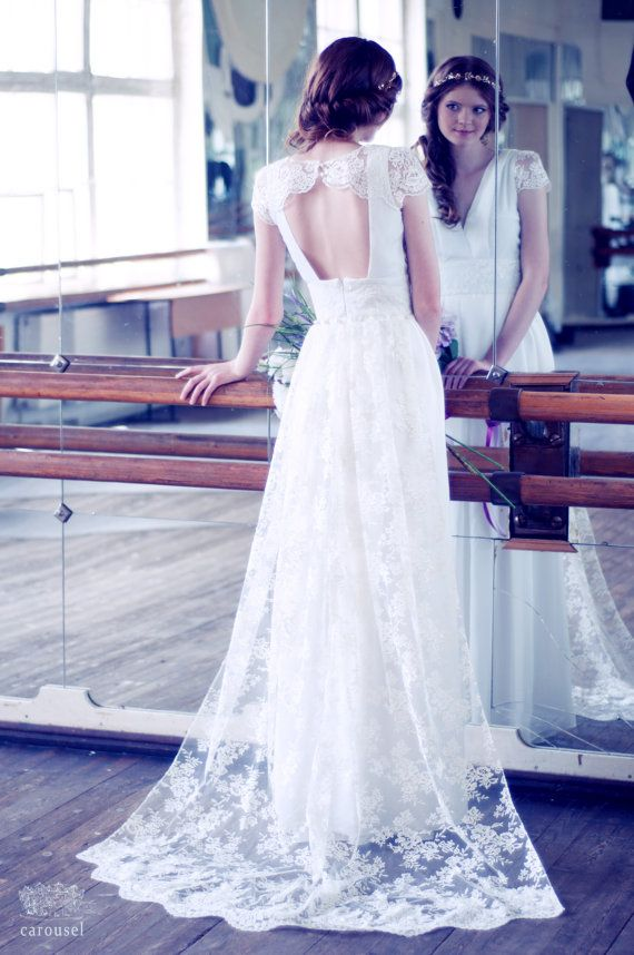 Black friday lace and silk wedding dress with a train for Black friday wedding dresses