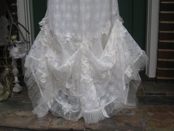 Mariage - Ethereal Lace Bohemian Wedding Gown Reserved For Carrie