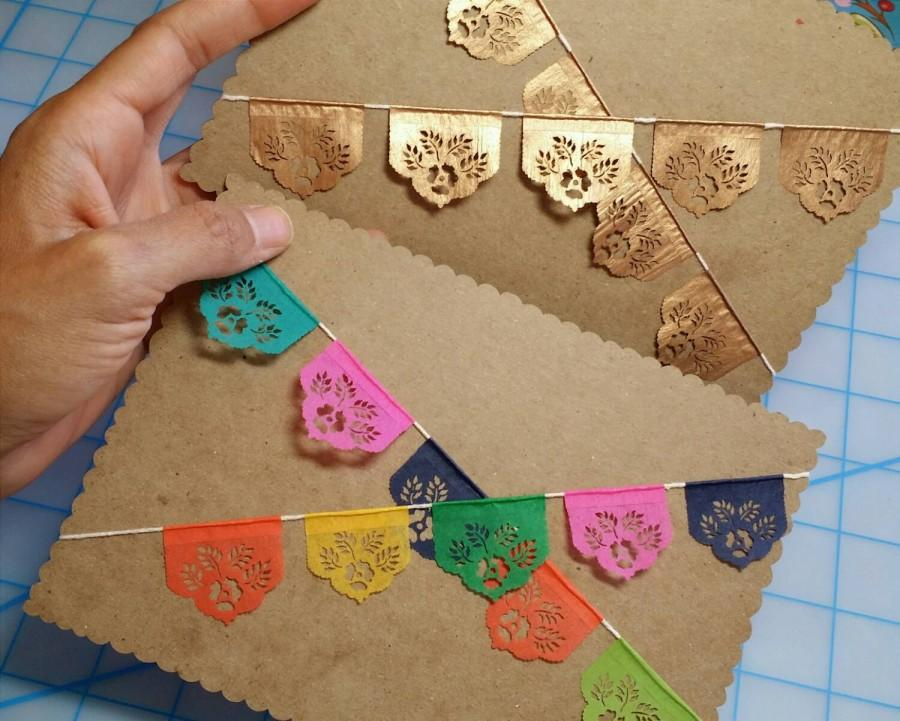 Wedding - Miniature papel picado cake topper bunting - sets of 2 - LAS FLORES