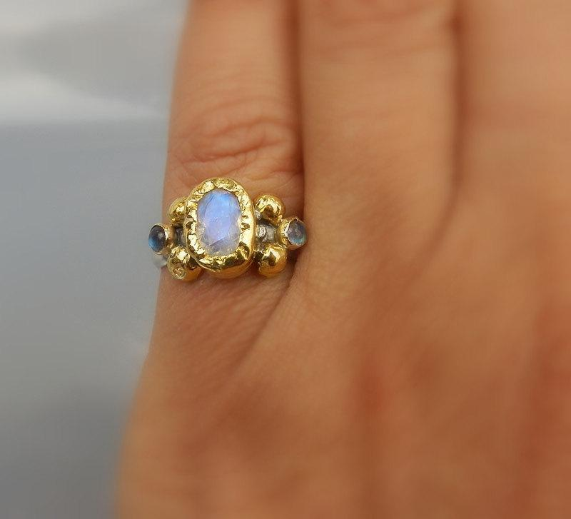 24K Solid Gold Faceted Moonstone Helena Ring Unique Engagement Ring