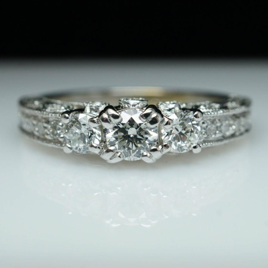 filigree diamond engagement ring 3 stone vintage engagement ring