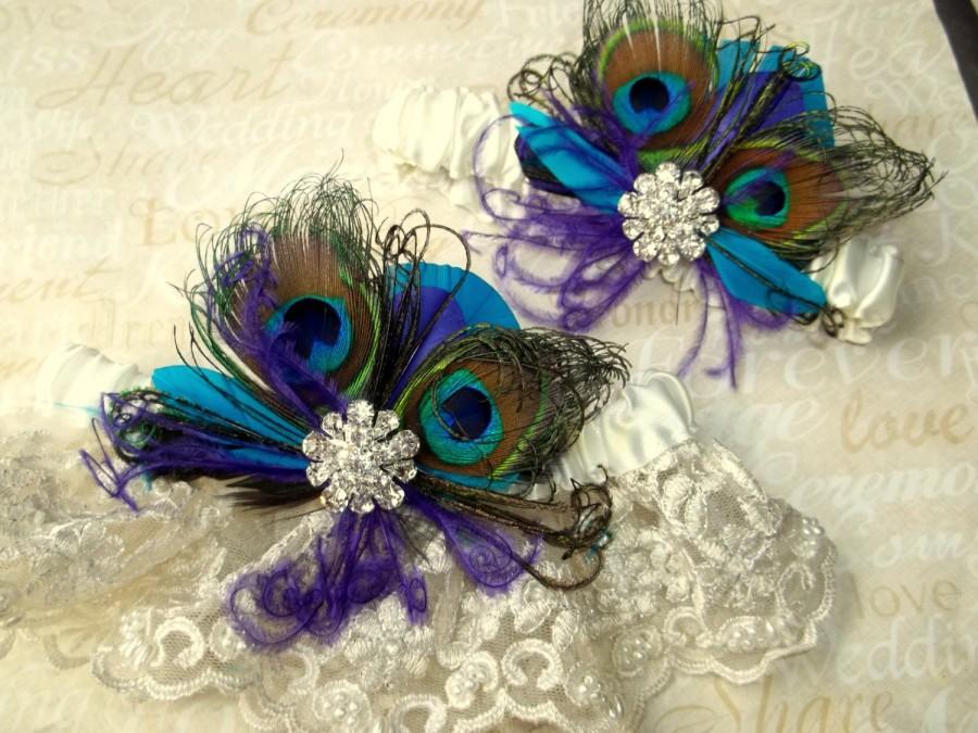 Hochzeit - WEDDING GARTER SET, Lace Bridal Garter, Peacock Garter set,  Wedding Garters, Blue Green Purple Teal, Garter Toss Set, Bridal Garters
