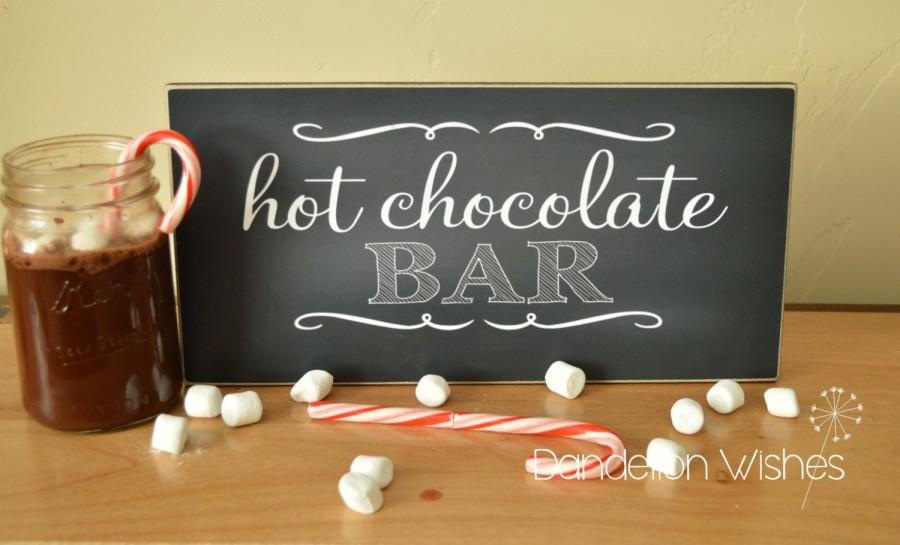 Свадьба - Hot Chocolate Bar Sign;  6x12 sign For Wedding, Party, Christmas Party, Birthday Party