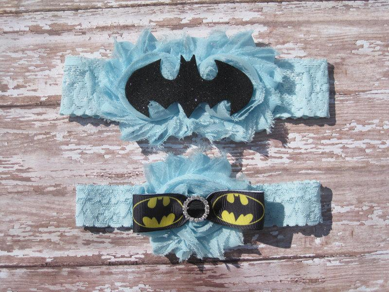 Wedding - Something Blue Batman Garter Set