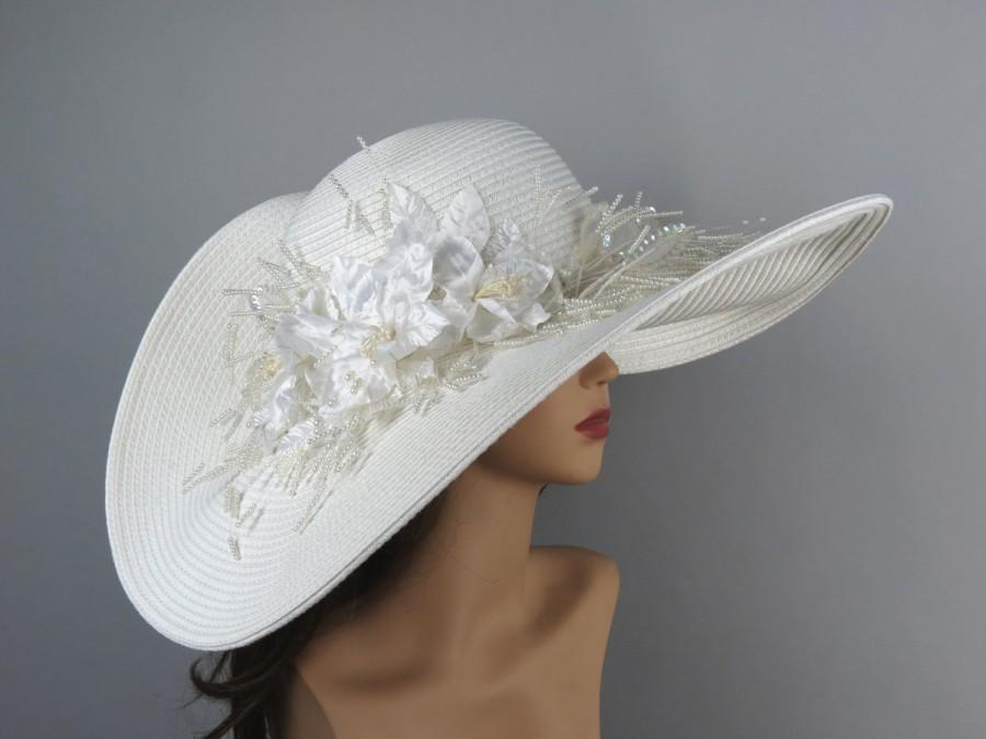 Off White Wedding Hat Kentucky Derby Bridal Accessory Summer Tail