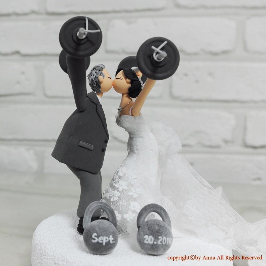 Mariage - Custom Cake Topper -Weight lifting theme-