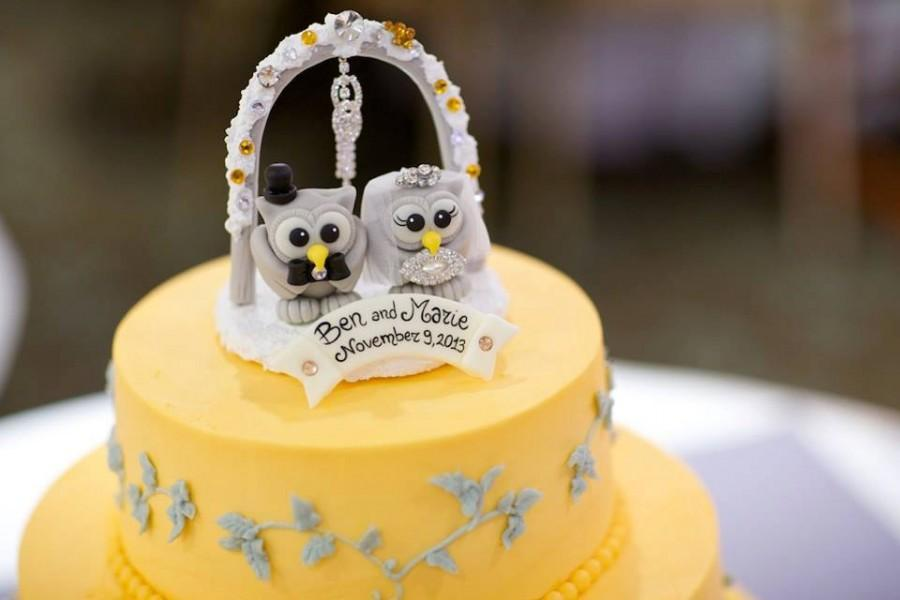 Winter Wedding Owl Cake Topper With Arc And Snow Base, Glitter Bling ...