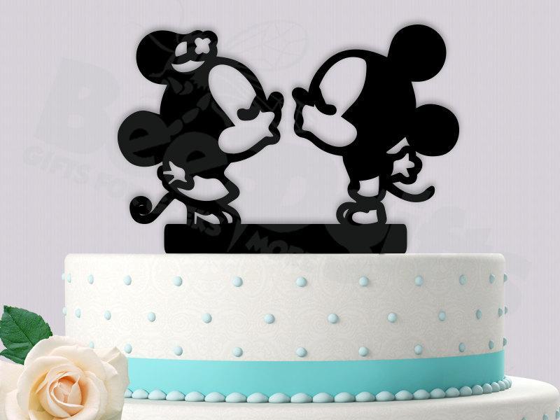 زفاف - Mickey Minnie Kissing Cute Cake Topper