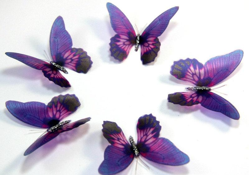 12 Violet Stick on Butterflies Wedding Cake Toppers 3D Wall Art Butterfly Stickers Wall Decals  sc 1 st  Weddbook & 12 Violet Stick On Butterflies Wedding Cake Toppers 3D Wall Art ...