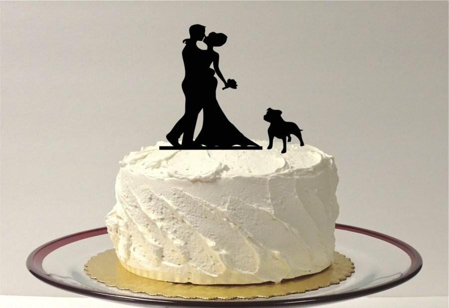 Mariage - WITH PET DOG Wedding Cake Topper Silhouette Wedding Cake Topper Bride + Groom + Dog Family of 3 Cake Topper Dog Cake Topper bulldog
