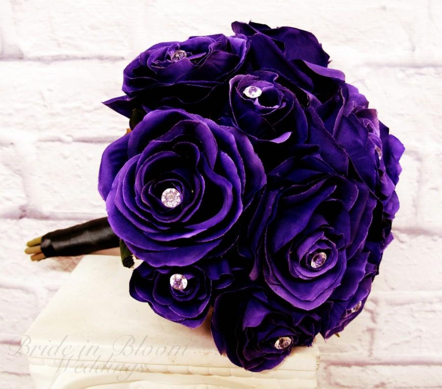 Purple Rose Wedding Bouquets 8 Inch Silk Bridal Bouquet